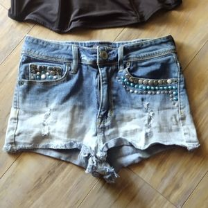 Kendall & Kylie Ombre Distressed Studded Shorts